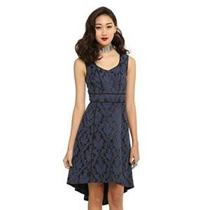 Royal Bones By Tripp Black & Blue Brocade High-Low Dress